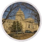 Missouri Capital Building Jefferson City Dsc00653 Round Beach Towel