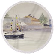 Mist-bound Round Beach Towel
