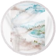 Mist In Norwegian Wood Round Beach Towel