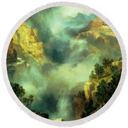 Mist In The Canyon Round Beach Towel
