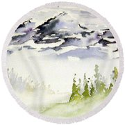 Mist In The Mountains Round Beach Towel