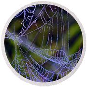 Mist In The Web  Round Beach Towel
