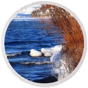 Mist On Kalamalka Round Beach Towel