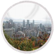 Mist Over Montreal Round Beach Towel