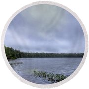 Mist Over Nicks Lake Round Beach Towel