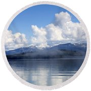 Mist Over Priest Lake Round Beach Towel