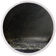Mist Rising From The River Dove On A Winter's Day Dovedale Peak District Derbyshire England Round Beach Towel