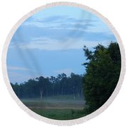Mist Rolls In And Blue Sky At Sunset Round Beach Towel
