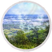 Mists In The Valley Round Beach Towel