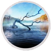 Mists Of The Morning Round Beach Towel