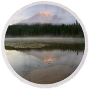 Misty Alpenglow Round Beach Towel