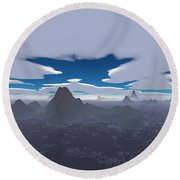 Misty Archipelago Round Beach Towel