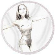 Misty Ballerina Dancer II Round Beach Towel