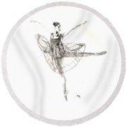 Misty Ballerina Dancer IIi Round Beach Towel