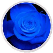 Misty Blue Rose Round Beach Towel