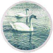 Misty Blue Swans Round Beach Towel