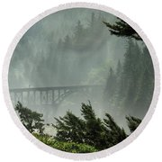 Misty Bridge At Heceta Head Round Beach Towel