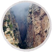 Misty Canyons Round Beach Towel