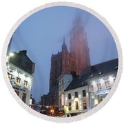 Misty Cathedral Round Beach Towel