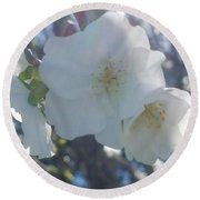 Misty Cherry Blossoms Round Beach Towel