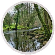 Misty Day On River Teign - P4a16017 Round Beach Towel