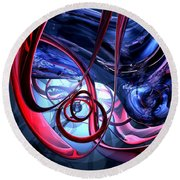 Misty Dreams Abstract Round Beach Towel