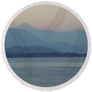 Misty Hills On The Strait Round Beach Towel