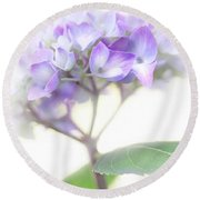 Misty Hydrangea Flower Round Beach Towel