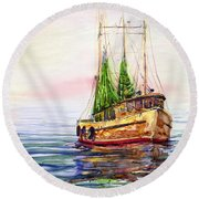 Misty In The Morning Round Beach Towel