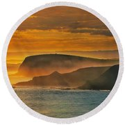 Misty Island Sunset Round Beach Towel