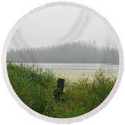 Misty Lake Round Beach Towel
