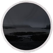 Misty Moonlight On Wallace Cove Round Beach Towel