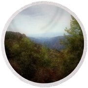 Misty Morn In The Mountains Round Beach Towel