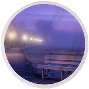 Misty Morning Boardwalk Round Beach Towel
