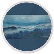 Misty Morning Fog Mount Mansfield Panorama Painting Round Beach Towel
