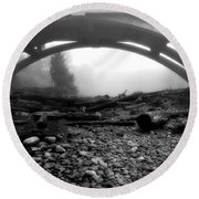 Misty Morning In Black And White Round Beach Towel