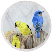 Misty Morning Meadow- Goldfinches And Bluebird Round Beach Towel