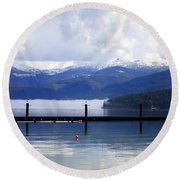 Misty Morning On Priest Lake Round Beach Towel