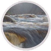 Misty Morning On The River Round Beach Towel