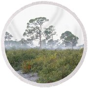 Misty Morning On The Trail Round Beach Towel
