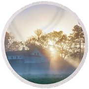 Misty Morning Sunrise - Valley Forge Round Beach Towel