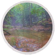 Misty Morning Woodscape Two Round Beach Towel