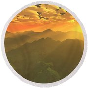 Misty Mornings In Neverland Round Beach Towel