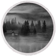Misty Mountain Reflection Round Beach Towel