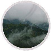 Misty Mountains Round Beach Towel