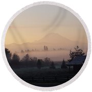 Misty Mt. Rainier Sunrise Round Beach Towel