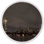 Misty Night On The Charles River Boston Ma Round Beach Towel