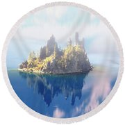 Misty Phantom Ship Island Crater Lake Round Beach Towel