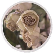 Misty Rose Tinted Dried Roses Round Beach Towel