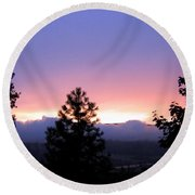 Misty Sunset Round Beach Towel